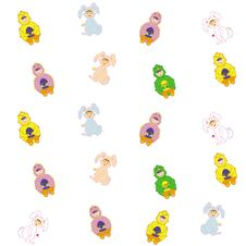 Free Easter Bunny And Chick Pattern Stock Image - 17745421