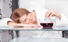 Free Woman Drinking Tea Stock Photo - 17745900