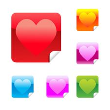 Free Heart Stickers Royalty Free Stock Photo - 17745995