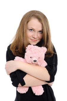Free Beautiful Girl  Embraces Teddy Bear Royalty Free Stock Images - 17746189