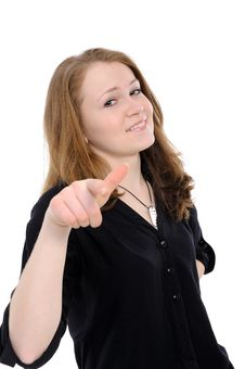 Young Gir  Pointing At You, Stock Photography