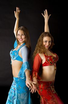 Free Two Young Woman Dance And Smile Royalty Free Stock Photo - 17747055