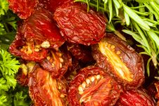Sun-dried Tomatoes With Fresh Herbs Stock Image