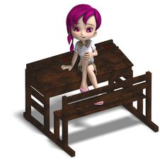 Free Cute Little Cartoon School Girl Sitting On A Royalty Free Stock Photography - 17747577