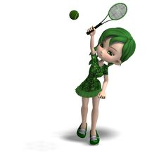 Free Toon Girl In Green Clothes With Racket And Royalty Free Stock Photos - 17747588