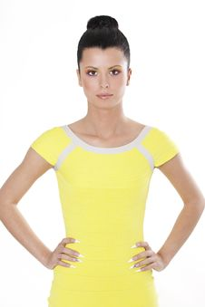 Fashion Brunette Woman In Yellow Dress Stock Images