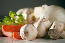 Mushrooms And Raw Vegetables Stock Photos