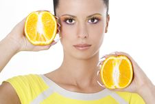 Free Woman Holding Two Halves Of Orange Royalty Free Stock Image - 17749006