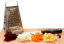 Free Grated Fresh Fruits, Grater And A Knife Royalty Free Stock Images - 17749039