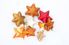 Free Christmas Decorations Over Snow Royalty Free Stock Photography - 17749357