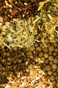 Assorted Dried Herbs And Spices Stock Image