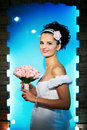 Free Beautiful Bride With Flowers On Blue Background Stock Image - 17753571