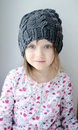 Free Adorable Little Girl In Grey Knit Royalty Free Stock Images - 17755259