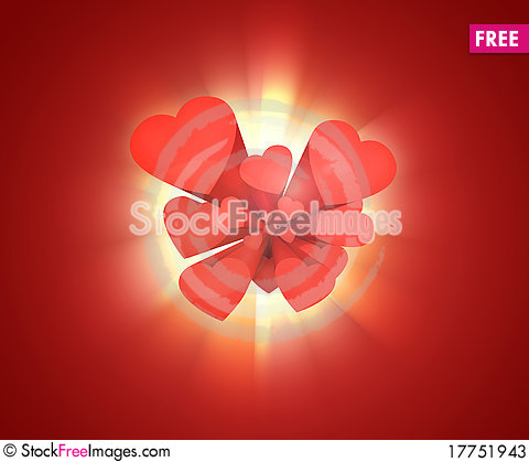 Free Red Hearts On Red Stock Photos - 17751943
