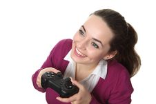 Free Woman Play Wideogame Royalty Free Stock Images - 17750879