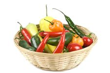 Basket Of Assorted Hot Peppers Isolated On White Royalty Free Stock Image