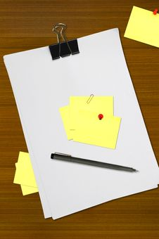 White Blank Note Paper With Pen Stock Images