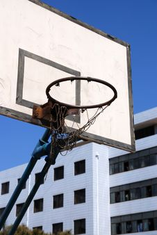 Free Outdoor Basketball Hoop Against Blue Sky Royalty Free Stock Photo - 17751725