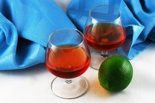 Free Two Glasses Of Brandy And Lime Stock Photos - 17751783
