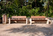 Wooden Bench In The Park. Stock Photos