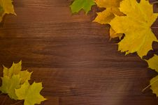 Free Wooden Blank With Autumn Leaves Stock Photography - 17752902