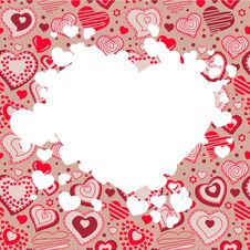 Free Frame With Many Hearts Royalty Free Stock Images - 17753099