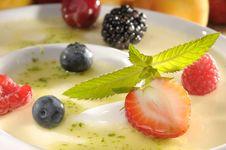 Free Vanilla Dessert With Fruits Stock Photo - 17753430
