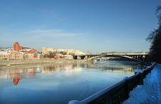 Moscow River And Promenade Stock Photos