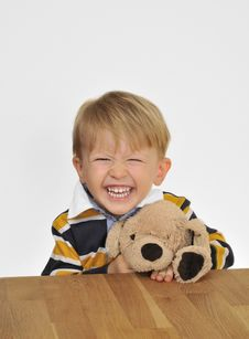 Free Smiling Boy With Teddy Bear Royalty Free Stock Photos - 17754378
