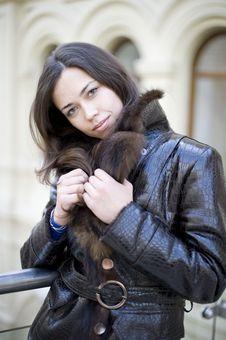 Free Young Girl Hiding A Fur Collar Stock Photos - 17754423