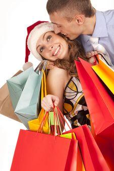 Free Lovely Couple Making Christmas Shopping Stock Photo - 17754470