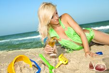 Girl At The Beach Royalty Free Stock Photos