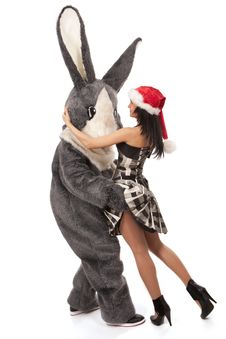 Free Big Rabbit Flirting With Cute Girl Royalty Free Stock Photos - 17754508