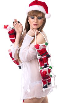 Free Santa Clauses Clamber Up Sexy Santa Girl Stock Photos - 17754563