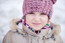 Winter Portrait Of Adorable Small Girl Royalty Free Stock Photography