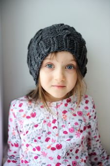Free Adorable Little Girl In Grey Knit Hat Royalty Free Stock Image - 17755116