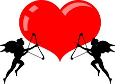 Free Heart And Two Cupid Angel Stock Photography - 17755232