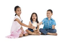 Free Siblings Cheering With Milk Royalty Free Stock Photo - 17755655