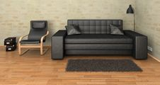 Interior Leather Sofa Royalty Free Stock Photography