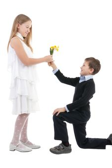 Free The Boy Gives To The Girl Flowers Stock Photo - 17755840