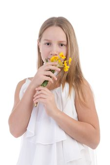 Free The Girl Smells Flowers Stock Photo - 17755850