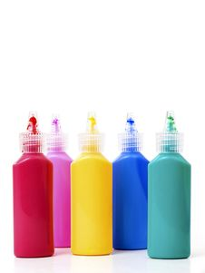 Free Bottles With Colors Isolated Royalty Free Stock Image - 17756246