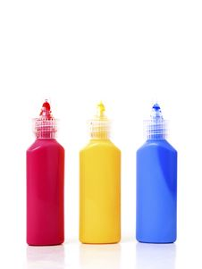 Free CMYK Bottles With Colors Isolated Stock Photos - 17756253