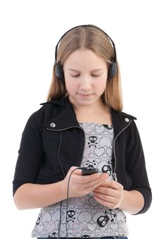 Free The Girl Listens To Music Royalty Free Stock Photography - 17756277