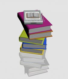 Free Pocket Pc And Stacks Of Books Royalty Free Stock Image - 17756356