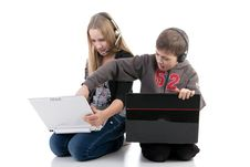 Free Children With Laptops Royalty Free Stock Images - 17756359