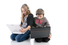 Free Children With Laptops Royalty Free Stock Image - 17756376