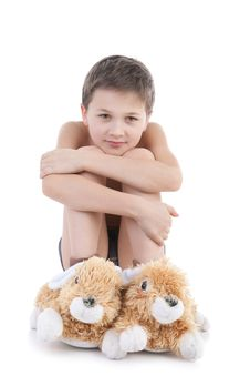 The Boy In Slippers-rabbits Royalty Free Stock Photo