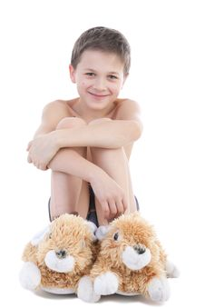 The Boy In Slippers-rabbits Stock Photos