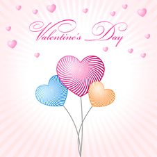 Free Abstract Glamour Heart Valentine Balloons Stock Photography - 17756772
